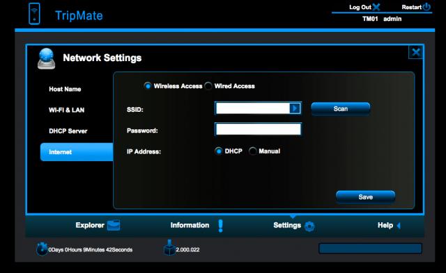 Wireless Network Screen inside your HOOTOO Tripmate
